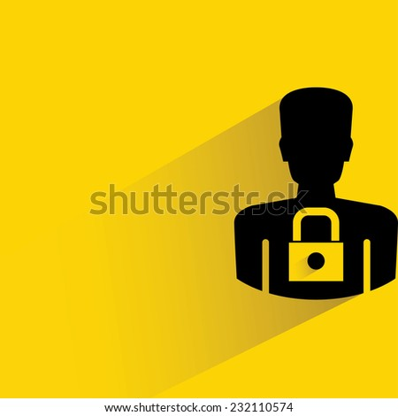 data protection, personal data security on yellow background, flat and shadow theme - stock vector