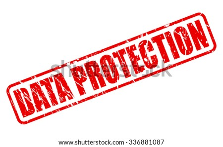 DATA PROTECTION red stamp text on white