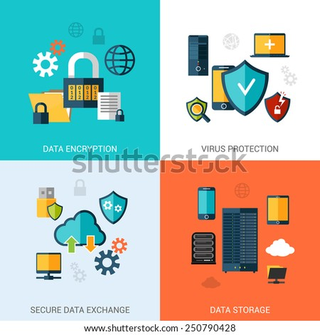 Data protection set with encryption secure exchange storage flat icons isolated vector illustration - stock vector