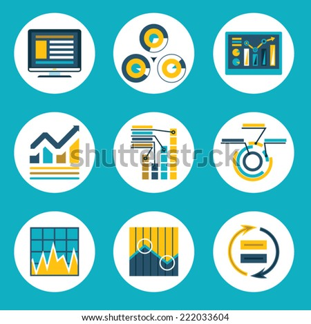 Data Retro Flat Design Style Business Infographics analytic Icons Vector Illustration - stock vector
