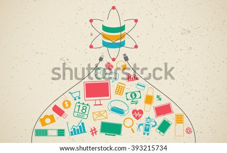 Data science and communication concept with gadgets and information symbols and cable connection. - stock vector