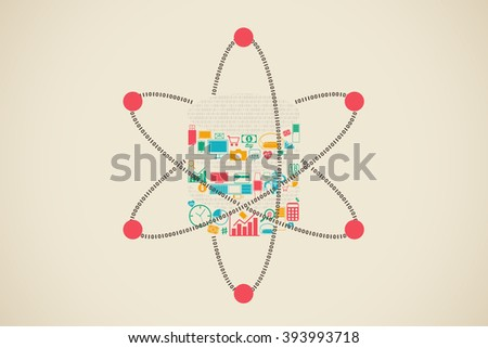 Data science in shape of database with gadgets and information symbols. - stock vector