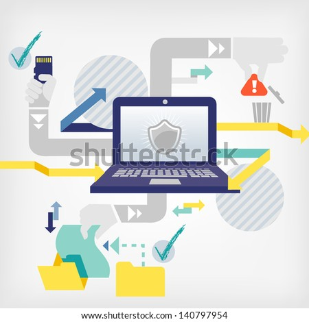 data security - stock vector