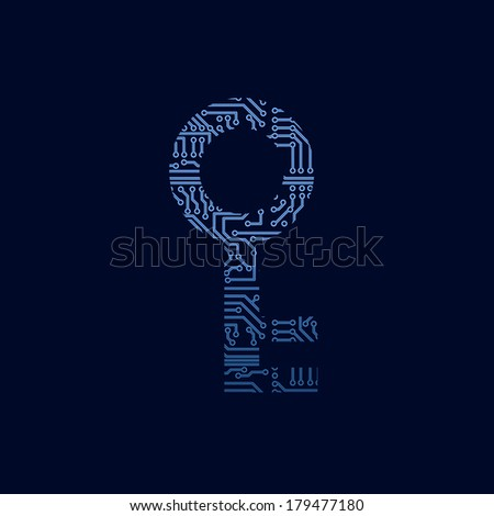 Data security icon. Circuit board key. - stock vector