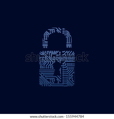 Data security icon. Circuit board padlock. - stock vector