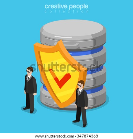Data security software flat 3d isometry isometric technology concept web vector illustration. Two security guards standing before shield and database storage server. Creative people collection. - stock vector