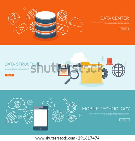 Data storage. Cloud computing. Flat background. Web storage. Folder and documents. information transfer. Internet search and media server. - stock vector