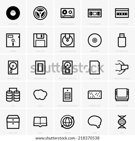 Data storage devices - stock vector