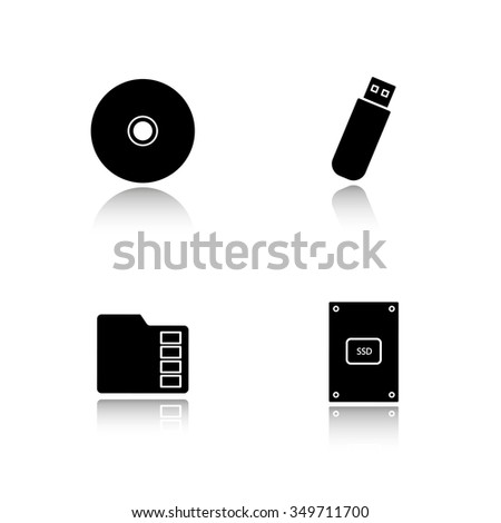 Data storage devices drop shadow icons set. External ssd hard drive, portable usb stick, micro sd mobile memory card, compact disc. Digital gadgets. Vector black illustrations - stock vector