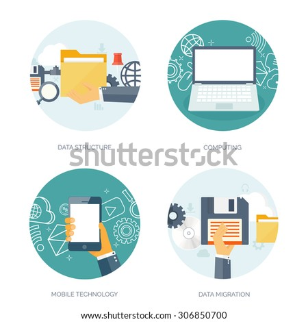Data storage, structure, migration. Cloud computing. Flat background. Web storage. Folder and documents. information transfer. Internet search and media server. - stock vector