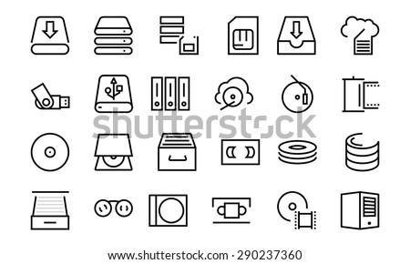 Data Storage Vector Line Icons 3 - stock vector