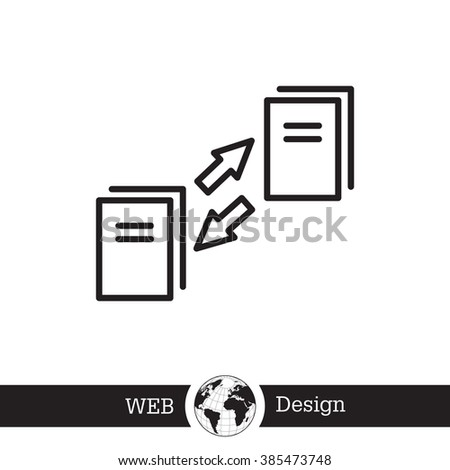 Data synchronization, update contents of computer file icon. - stock vector