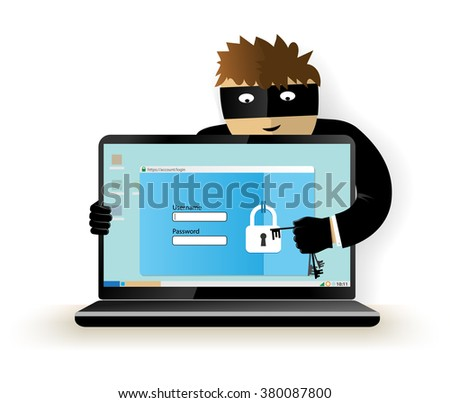 Data theft. Hacker breaks into computer. Cyber attacker trying to hack computer. Vector concept abstract illustration. Isolated on white background. - stock vector