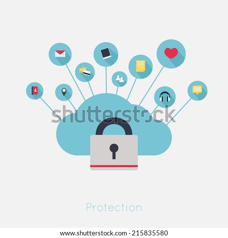 Data theft protection. Secure Cloud Computing. Cartoon vector. - stock vector