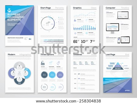 Data visualization brochures and infographic business templates. Use in website, corporate brochure, advertising and marketing. Pie charts, line graphs, bar graphs and timelines. - stock vector