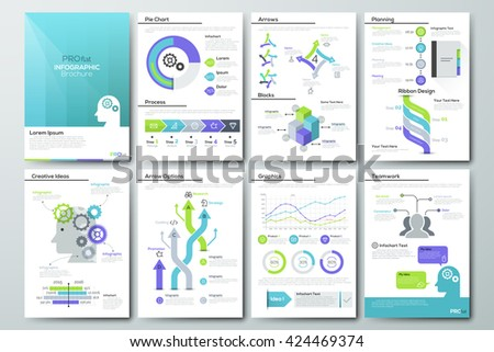Data visualization brochures and infographic business templates. Use in website, corporate design, advertising and marketing. Pie charts, line graphs, bar graphs and timelines. - stock vector