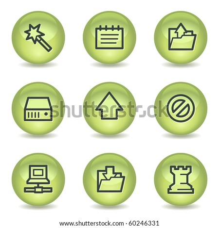 Data web icons , green glossy circle buttons