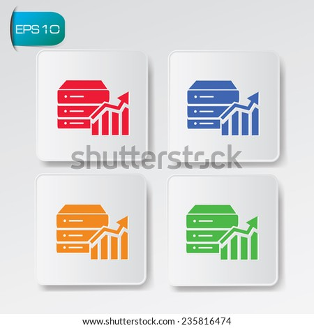 Database analysis icon on buttons,clean vector - stock vector
