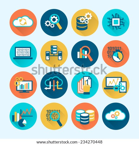 Database analytics digital network computing process icons flat set isolated vector illustration - stock vector