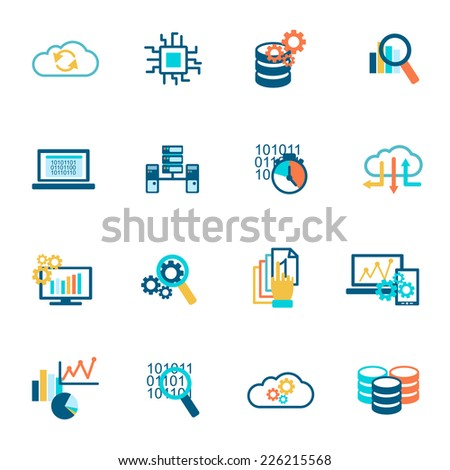 Database analytics information technology network management icons flat set isolated vector illustration - stock vector