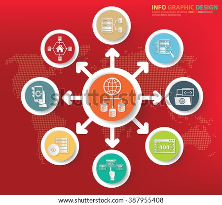 Database and big data concept info graphics design, clean vector - stock vector