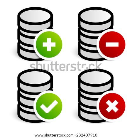 Database, archive editing symbols - stock vector