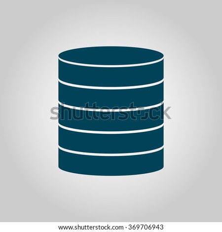 Database blue icon on grey background with white on center