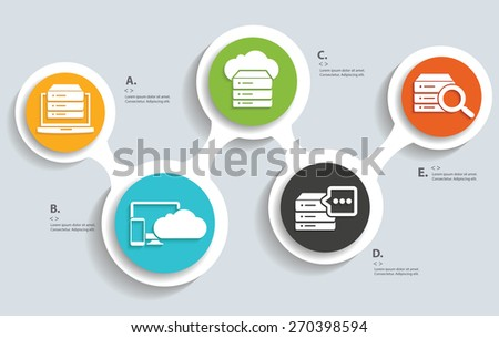 Database ,Cloud computing, technology info graphic design - stock vector