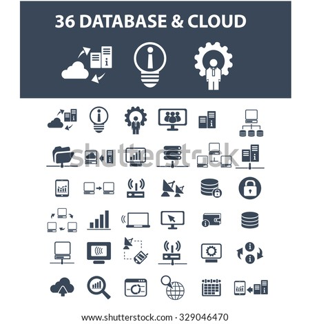 database, cloud, hosting icons - stock vector