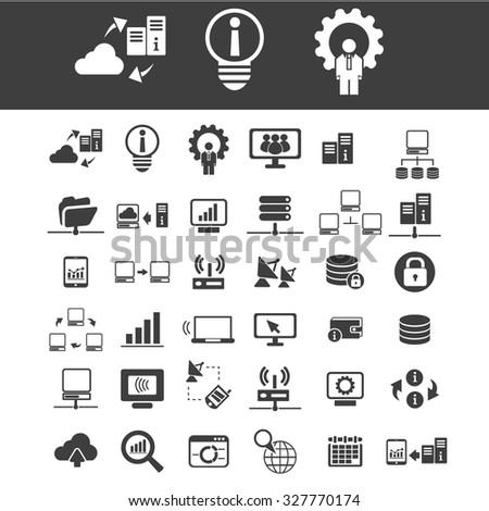 database, hosting, big data, cloud computing, network icons - stock vector