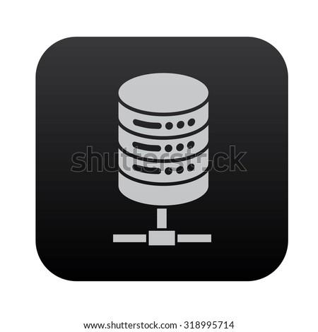 Database icon design on black button,clean vector - stock vector