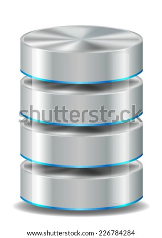 Database Icon Isolated on White - stock vector
