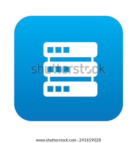 Database icon on blue background,clean vector - stock vector
