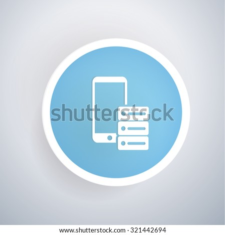 Database icon on blue button background, clean vector - stock vector