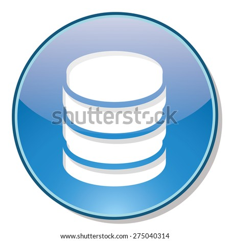Database icon on blue circle with shadow isolated - stock vector