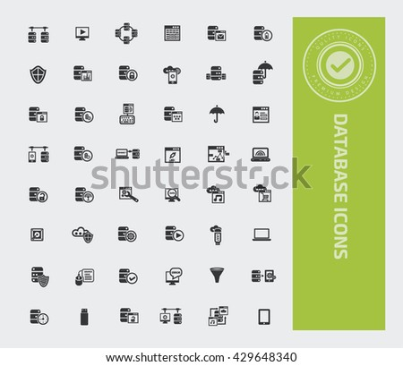 Database icon set,vector - stock vector