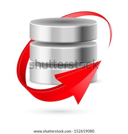 Database icon with red curved arrow as update symbol. Illustration on white. - stock vector