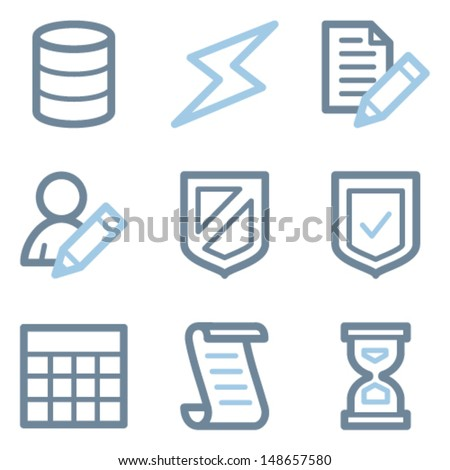 Database icons, blue line contour series - stock vector