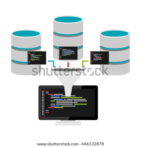 Database programming. Data mining. Big data technology concept. - stock vector