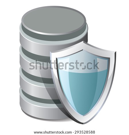 Database Protection Icon. Vector illustration isolated on white background - stock vector