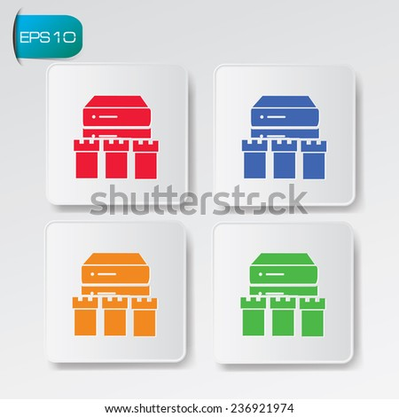 Database security icons on buttons,clean vector - stock vector
