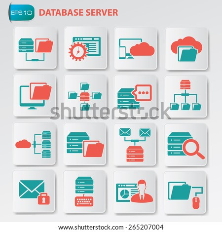 Database server icon set on clean button, vector - stock vector