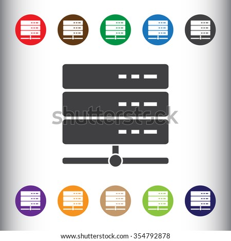 Database server icon, sign icon, vector illustration. Database storage symbol. Flat icon. Flat design style for web and mobile. - stock vector