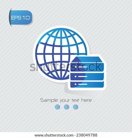 Database symbol,sticker design,blue version,clean vector - stock vector