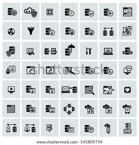 Database system and Data security icons,vector - stock vector