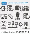 Database system icon set,vector - stock vector