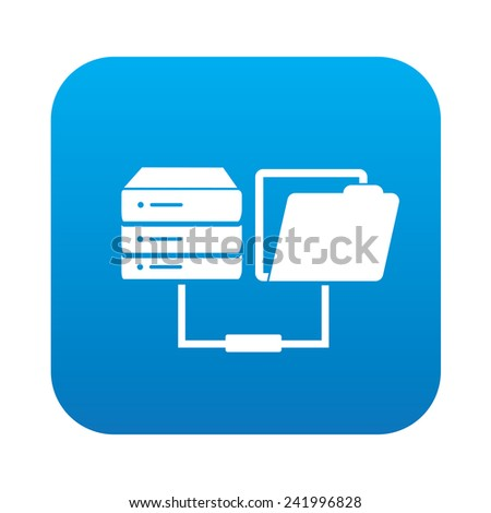 Database transfer icon on blue button,clean vector - stock vector