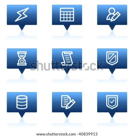 Database web icons, blue speech bubbles series - stock vector