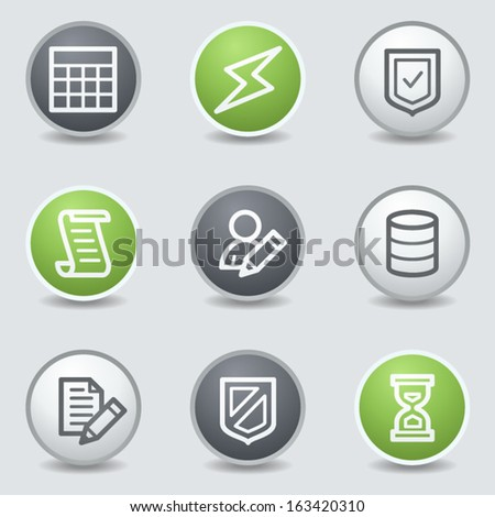 Database web icons, circle buttons - stock vector
