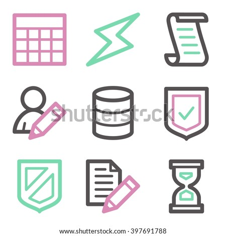 Database web icons, server and storage, script and users, table and firewall, vector stock signs - stock vector